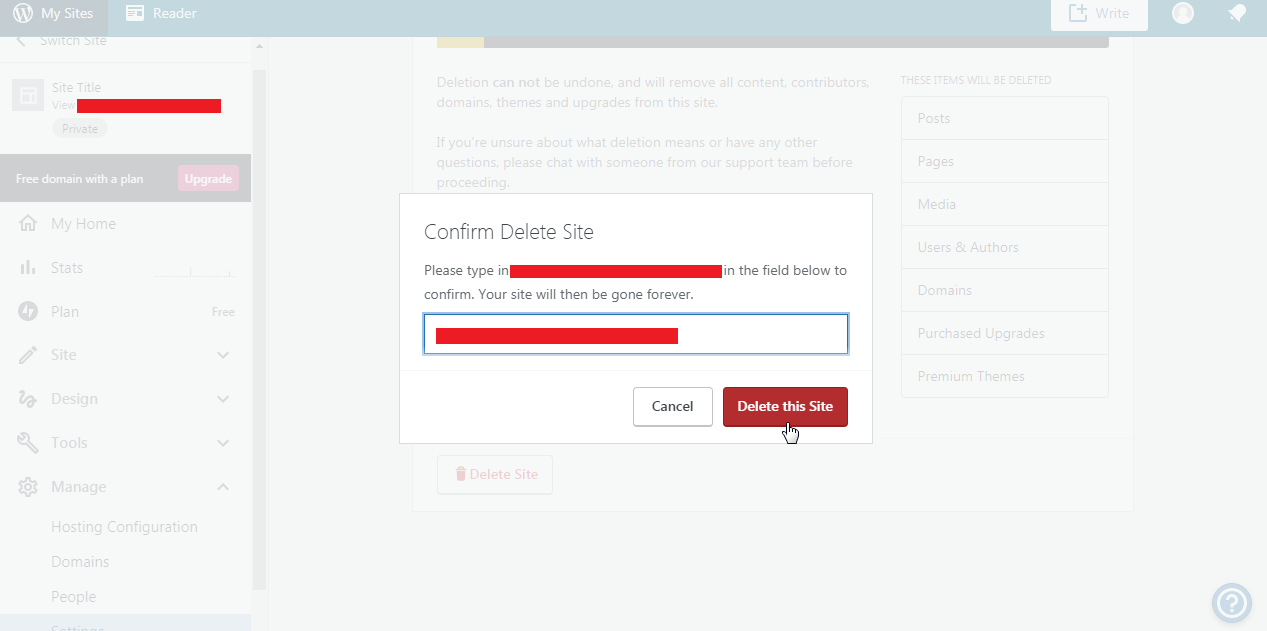 Confirm to Delete WordPress Site