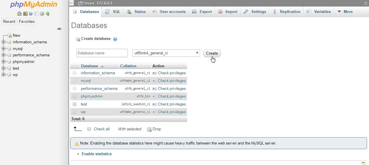 phpMyAdmin Database Option
