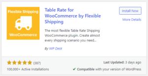 table rate plugin