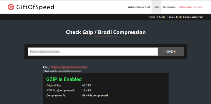 enable gzip compression test