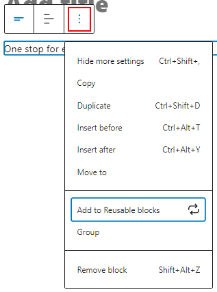 Add reusable block