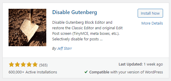 disable gutenberg plugin
